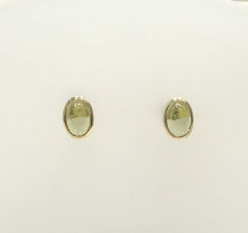 Oval Shaped Peridot Yellow Gold Rubbed Over Stud Earrings